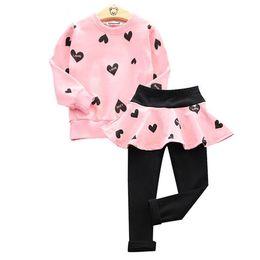 Wholesale Cute Long Sweaters - 2017 girls love autumn explosion cotton long sleeved sweater + pants skirt suit 2 pcs suit Clothing Sets