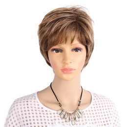 Wholesale Wig White Short Curly - Short Wig for white women Blonde Synthetic Curly Short Hair Wig Ombre And Picture Color