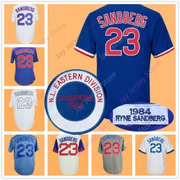 Wholesale Vintage Polyester Shorts - Ryne Sandberg Jersey Vintage 1984 Flexbase Cool Base Chicago Cooperstown Jerseys White Blue Grey Cream