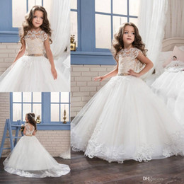 Wholesale Baby Little Princess Dresses - 2017 New Lovely Lace Princess Baby Girl Flower Girls' Dresses Sheer Crew Neck Little Cap Sleeves Backless Formal Girl's Pageant Dresses