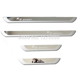 Wholesale Door Sill Kia - For 2015 Kia K2 Sedan Hatchback Ultra-thin Stainless Steel Scuff Plate Door Sill Welcome Pedal K2 2010- 2014 Car Styling Accessories