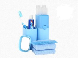 Wholesale Travel Toothbrush Cup - 5pcs Set Travel Wash Kit Toothbrush Toothpaste Holder Waterproof Portable Cup Bathroom Accessories Set Comb Mirror Shampoo Bath Cream Bottle