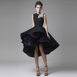 Wholesale Tiered Cocktail Dresses Pleats - Arabic High Low Black Evening Dresses Jewel Handmade Flowers Ruffles Lace And Tulle Prom Dress Christmas Formal Cocktail Party Gowns