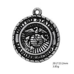 Wholesale Marine Badge - My shape Antique Silver Plated United States Army Badge Charm Military Series Marine Corps Charms for Jewelry Making