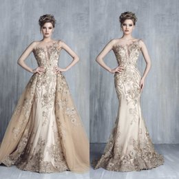 Wholesale Pink Tony - Tony Chaaya 2018 Luxury Prom Gowns Evening Dresses With Detachable Train Champagne Beads Mermaid Lace Applique Sleeveless Arabic Party Dress