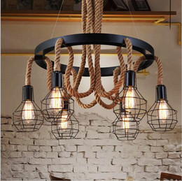 Wholesale Kitchen Fluorescent Light Fixture - Retro led rope pendant Lights edison Industrial pendant light chandelier Vintage Restaurant Living bar lighting fixtures