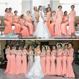 Wholesale beautiful silver bridesmaid dresses - 2017 Nigerian African Elegant Coral Long Bridesmaid Dress with Sleeves Plus Size Lace Mermaid Party Dress Beautiful Bridesmaid Dresses