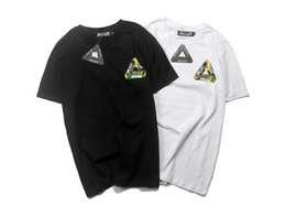Wholesale Triangle Skateboard - Men's hip-hop skateboard short-sleeved T-shirt triangle simple wild T-shirt fashion lovers loose color printed letters short-sleeved shirt