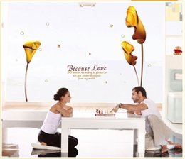 Wholesale Vinyl Reusable Stickers - Free Shipping:3D Gold Calla Lily Reusable Transparent Pvc Window Wall Stickers Mural Decal Art Home Decor Size145*185cm 57'*72in