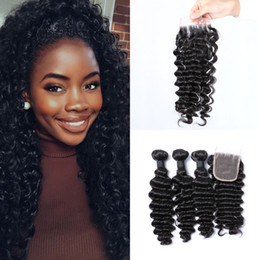 Wholesale Bleached Curly Weave - 3 Bundles With Closure Virgin Deep Wave Indian Curly Hair Extensions Lace Closure 4x4 Free Part Bleached Knots