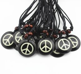 Wholesale Hot Dog Chains - Hot Wholesale lot 12pcs Handmade Resin Carving Peace Sign Pendants Necklace Amulet Gift MN360