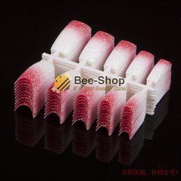 Wholesale Half Nail Tips White - 100 Beauty Fake Acrylilc Nails Stunning Glitter Nail Half Tips Red Flash Mix White Design French Plastic False Nail Art Tips