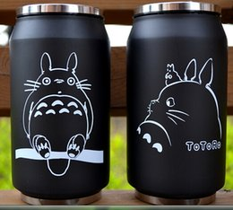 Wholesale White Thermos Cup - 2017 cartoon vacuum thermos mug my neighbor totoro can of cola stainless steel anime figures cup with Japanese hayao miyazaki design