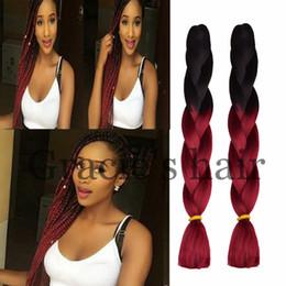Wholesale Cheap Boxes Hair - Cheap ombre braiding hair Jumbo box braids hair havana twist crochet braids 24inch 100gram Synthetic braiding hair two tone ombre burgundy