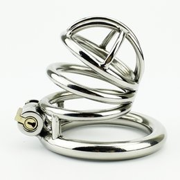 Wholesale Steel Sex Toys Chastity - 2016 Latest Design Male Chastity Device Stainless Steel Cock Cage Toys Metal Cock Ring BDSM Belt Penis Bondage Sex Products