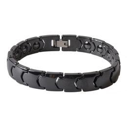 Wholesale Ceramic Magnetic Bracelets Black - 2018 New Fashion Jewelry Healing Magnetic Titanium Bio Energy Bracelet For