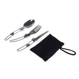 Wholesale Folding Tabs - Wholesale-Outdoor Camping Picnic Tableware Stainless Steel Folding Knief Fork And Spoon Tab utensilios de cocina Outdoor Tablewares