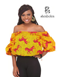Wholesale Dashiki Wear - Womens Dashiki African Shirt Off Shoulder Top Tunic Batik Party BOHO HIPPIE GYPSY FESTIVAL TOP Wholesale Wear