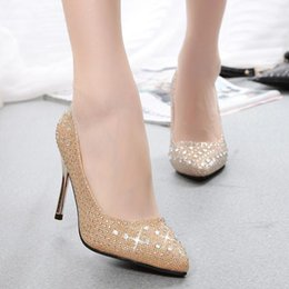 Wholesale Gold Heels For Bridesmaids - New Fall Thin Pointed High Heel Diamond Sequined Bridal Bridesmaid Silver Stiletto Wedding Shoes For Women Pumps Multiple Colors