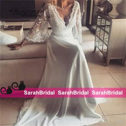 Wholesale Greek Style Dresses - Charming Chiffon Lace Bohemian Wedding Dresses 2016 A Line Plunging V Neck 3 4 Long Sleeve Vintage Boho Greek Style Beach Bridal Gowns Cheap