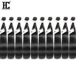 tissus remi péruvien Promotion HC Cheveux Prix de Gros 10 Bundles Vison Cheveux Vierges Brésiliens Droite 100% Non Transformés Extensions de Cheveux Humains Machine Double Trames