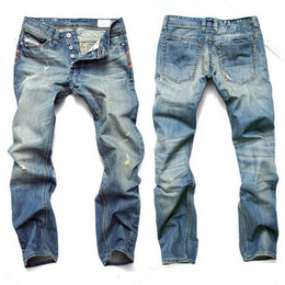 Wholesale Jeans Punk Slim - Hot Light Blue Men Jeans Hole Straight Slim Big Size Pants Retro Punk Cave Jeans 8873