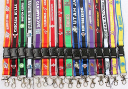 Wholesale Key Chain Id Holder - Wholesale 100pcs Lanyard With Metal Clip Charm ID Badge Holder Key Chain Basketball Teams Hot Sales DHL Free