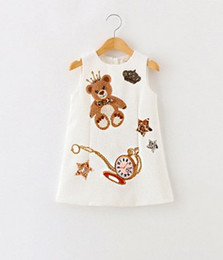 Wholesale Dresses Girls Cute Cartoon - 2016 Autumn Children Girls Cute Pear Printing Sequins Star Sleeveless Dresses White Pink Cartoon Tank Dresses B4170
