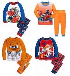 Wholesale Children Clothes Design For Boys - Kids pajamas boys sleepwear car plane pattern children clothes children 4 designs pajamas for 1~7 years kids 6 sets l