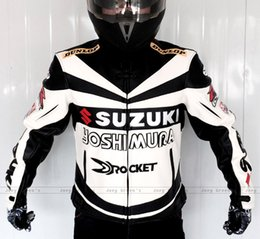 Wholesale Classic Leather Jackets For Men - Motorcycle racing suit Professional Classic racing jacket for SUZUKI leather PU overalls winter motorcycles riding clothes