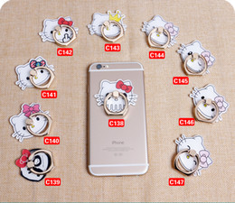 Wholesale Unique Retail - 2017 Hello Kitty Ring Phone Holder with Stand Unique Mix Styles Phone Holder for iPhone 7 Plus Universal All Cellphone with retail package