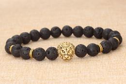 Wholesale 14k Gold Onyx Ring - Metal Buddha beads jewelry lava volcanic stone lion head bracelet men's women black bracelets