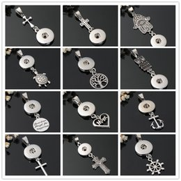 Wholesale silver anchor charm necklace - Fashion DIY necklace 12mm Snaps Jewelry Metal Cross Anchor MOM Heart Fátima Palm Snaps Button Pendant Charms Noosa Findings Wholesale