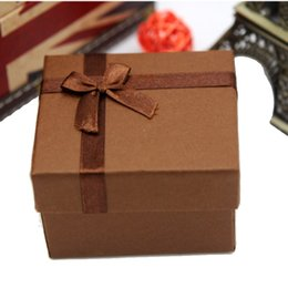 Wholesale Square Shape Watches - Wholesale-Durable Square Shaped Present Gift Paper Box Case For Jewelry Watch Box Packing With Pillow Brown 8.5 x8.3x5.5cm