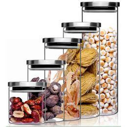 Dadi di bloccaggio online-1 Pz Spin Lock Contenitori ermetici a tondo Trasparenti Contenitori in vetro borosilicato trasparente Contenitori alimentari per zucchero a velo Farina e noci Pasta