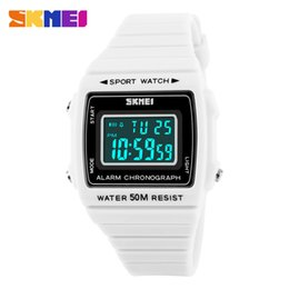 Wholesale wrist watch original straps - Original SKMEI 1136 Women's Sport LED Digital Waterproof Date rubber strap Multifunction Wrist watch