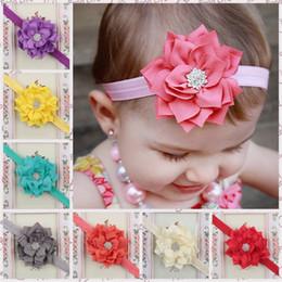 Wholesale Lotus Flowers Wholesale - Christmas Lotus Flower Rhinestone headbands baby girls Flower Hair band kids Accessories 13 colors