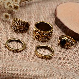 Wholesale Snake Wedding Rings - Fashion Vintage Bohemian Turkish Midi Ring Set Steampunk Engrave Elephant Snake Ring Knuckle Rings Women Anel Joint Ring