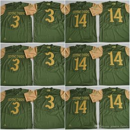 Wholesale Olive S - 3 Joe Montana DeShone Kizer 14 Notre Dame Fighting Irish 2017 Shamrock Series Premier College Football Jersey Olive Green Mens Rugby Jerseys