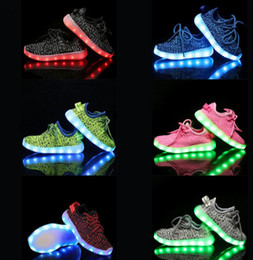Wholesale Led Flashing Light Shoe - KIDS Led shoes light Flashing with USB Charge Lace Up Luminous Shoes Running Sportswear Sneaker Luminous Kids Shoes LJJK777