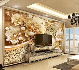 Wholesale Flower Wall Prints - 3D Jewelry Flower Wall Mural Photo Wallpaper for Living Room Bedroom Wallpaper Wallcoverings murales de pared 3d contact paper