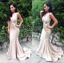 Wholesale Silk Dresses For Prom - 2017 Glamourous Sexy Long Mermaid Evening Gowns V-neck Sweep Train Eleagnt For Celebrity Chartity Prom Party