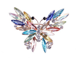Wholesale Wholesale Silver Broach - fashion Big Crystal butterfly Top Quality Silver Tone Drop Brooch Exquisite Big Diamante Jewelry Brooch Large Crystal Women Broach 11