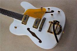 Wholesale Hollow White Jazz - Rare Hybird Jazz Guitar TeleGretscher Paul Waller White TELE Electric Guitar Semi Hollow Body F Hole Bigs Tremolo Bridge Gold Hardware