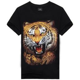 Wholesale Tiger 3d Tshirt - 2016 New Fashion Men's Print Tiger Cotton Brand T Shirt Men 3D Tshirt Clothes Animal Causul T-Shirts