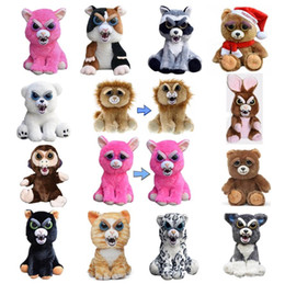 Wholesale Pet Santa - Dropshipping face Change Feisty Pets Animals Plush toys cartoon monkey Santa Claus Stuffed Animals for baby