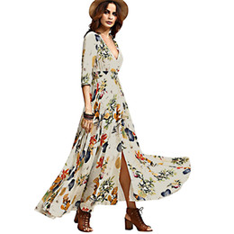 Wholesale Boho Gypsy Maxi Dress - National Hepburn Style Retro Bohemian Vestidos Gypsy Floral Print Maxi Hippie Holiday Summer Long Flowing Dress Boho Women