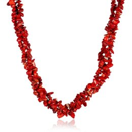 Wholesale Charming Red Coral Necklace - Creative vintage coral red crystal necklace women collar choker irregular natural stone charm necklace chain rope