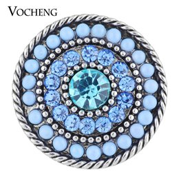 Wholesale Beads Rhinestone Buttons - VOCHENG NOOSA 18mm Sunburst Snap Charm 2 Colors Rhinestone Round Bead Vintage Button Vn-1119