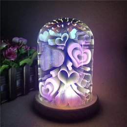 Wholesale 3d Glasses China - 3D glass lamp shade usb LED homeway light creative usb gift light magic for bedroom fantasy